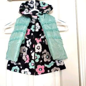 Kids headquarters fleece hooded dress & vest 12M